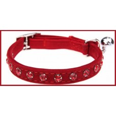 Velvet Crystal Cat Collar Red
