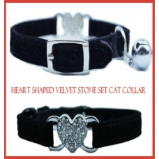 Heart Shaped Velvet & Crystal Cat Collar