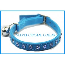 Velvet Crystal Cat Collar Blue