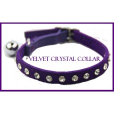 Velvet Crystal Cat Collar Purple