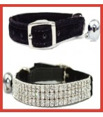 Trident Cat Crystal 3 Row Collar Black