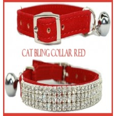 Trident Cat Crystal 3 Row Collar Red