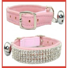 Trident Cat Crystal 3 Row Collar Pink