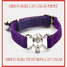 Liberty Skull Velvet Cat Collar