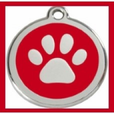 Pet Paw ID Tag Red