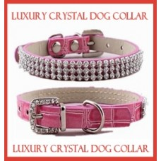 Luxury Crystal PU Leather Dog Collar