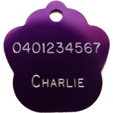 Paw Print Pet ID Tag Purple
